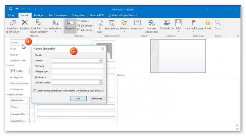 digitale Visitenkarte in Outlook anlegen
