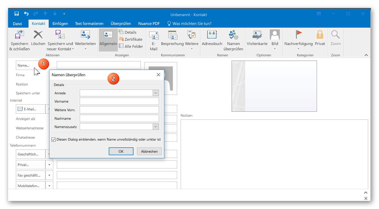 How to create a digital business card with outlook 2016 digitale visitenkarte in outlook anlegen reheart Choice Image