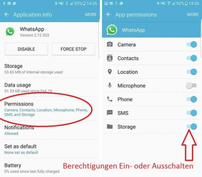 Check WhatsApp permissions
