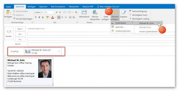 VCF in Outlook versenden