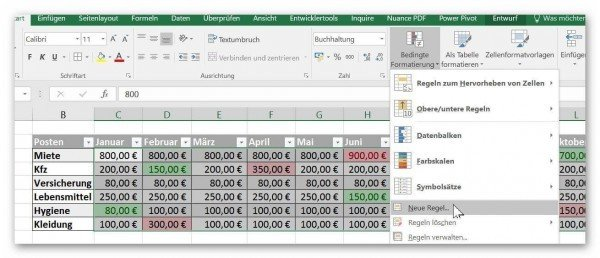 Conditional Formatting Set new rule