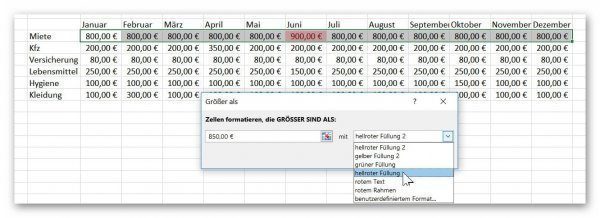 Excel Define conditional cell formatting