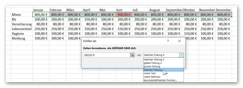 Excel Bedingte Zellformatierung festlegen