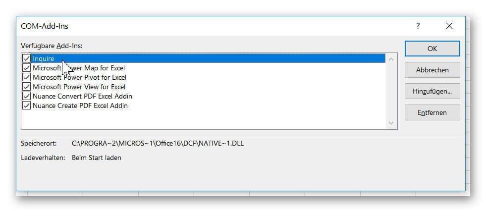 Excel Inquire aktivieren