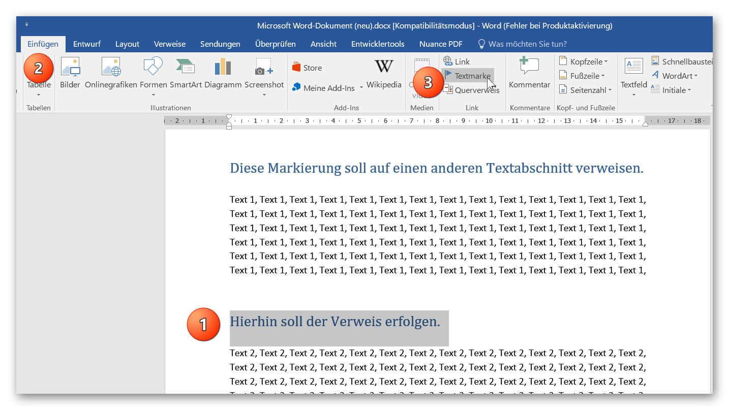 Textmarke in Word setzen