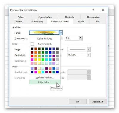 Zellkommentar in Excel formatieren