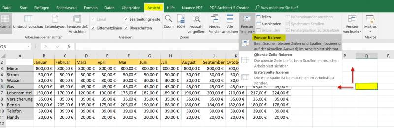 Fenster in Excel fixieren