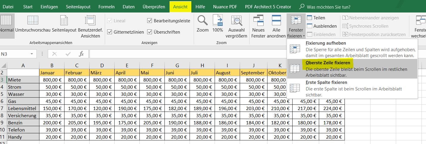 obere Zeile in Excel fixieren