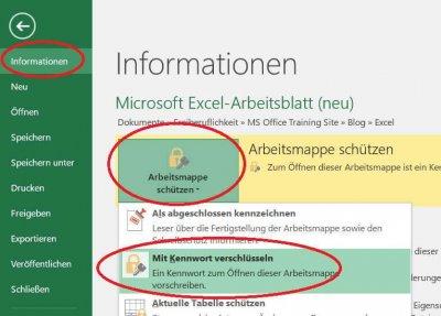 Excel Arbeitsmappe verschlüsseln