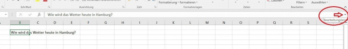 Bearbeitungsleiste in Excel anpassen