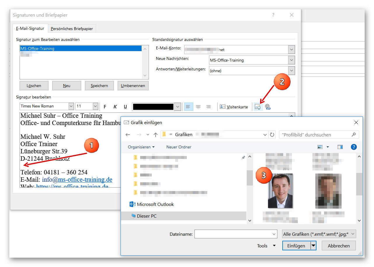 Bild in Outlook Signatur einfügen