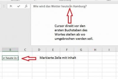 Excel Cursor positionieren