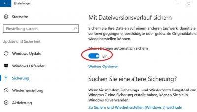 Turn on Windows 10 file backup