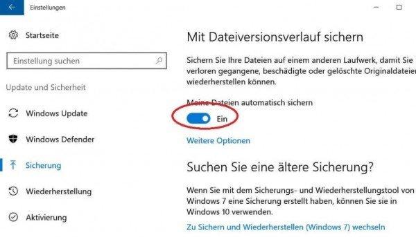 Dateisicherung in Windows 10 einschalten