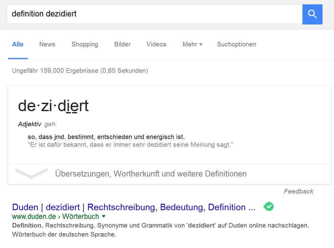 Definition von Fremdwörtern in Google