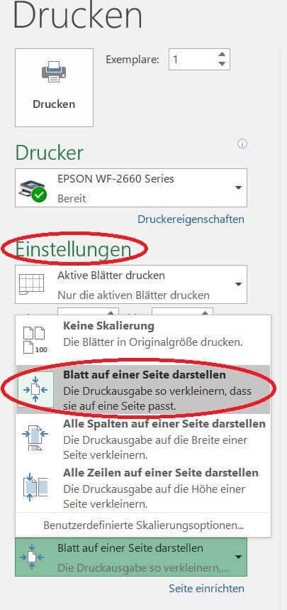 Druckausgabe in Excel anpassen