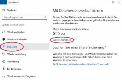 Windows 10 Sicherung Einstellungen