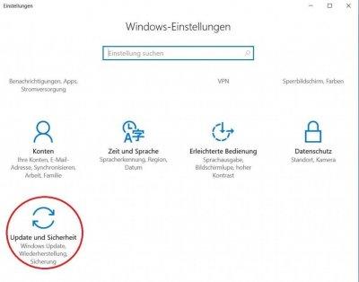 Windows 10 Einstellungsmenü