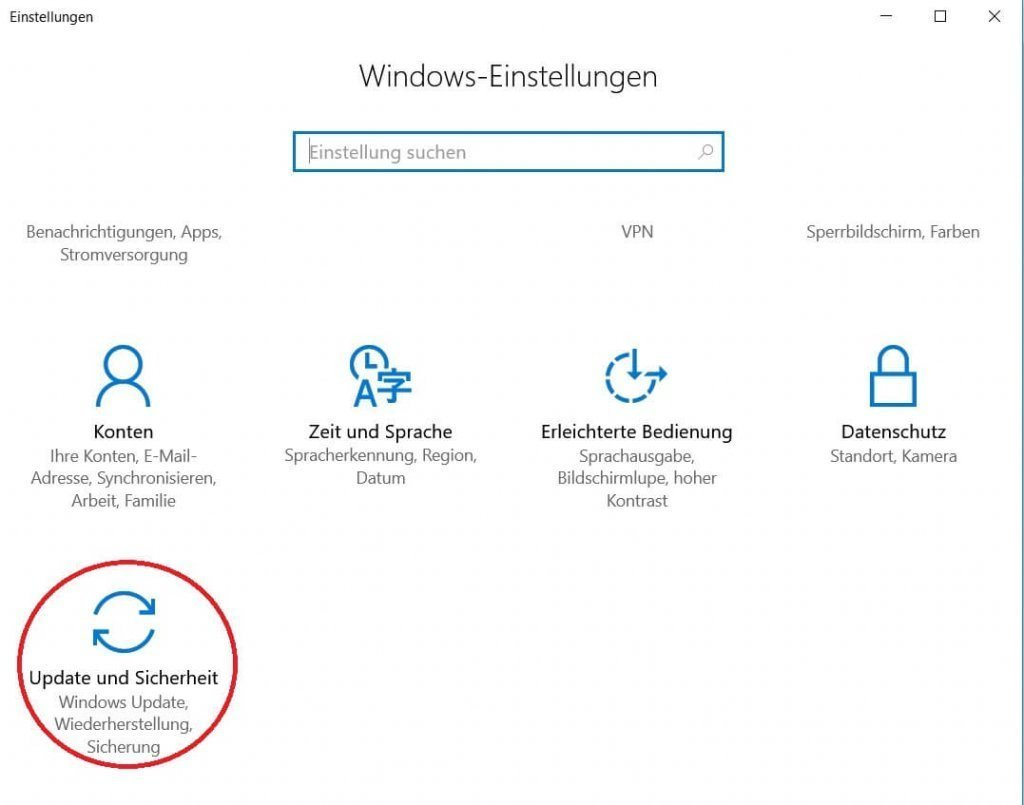Windows 10 Einstellungsmenü
