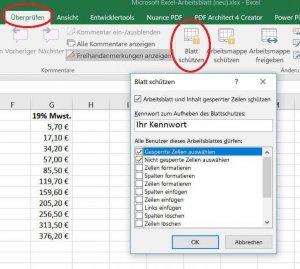 Excel Arbeitsblatt schützen