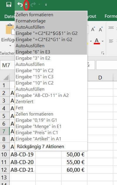 Arbeitsschritte in Excel rückgängig