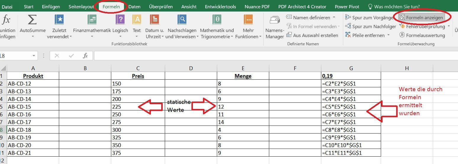 Formeln in Excel anzeigen