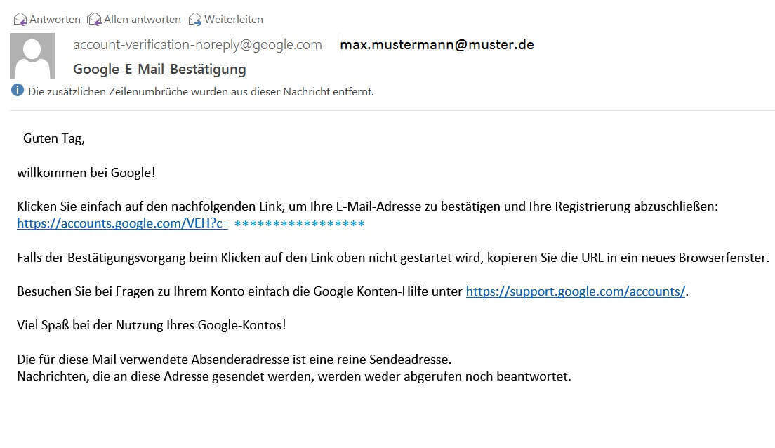 google account email confirmation - Bestatigung Muster