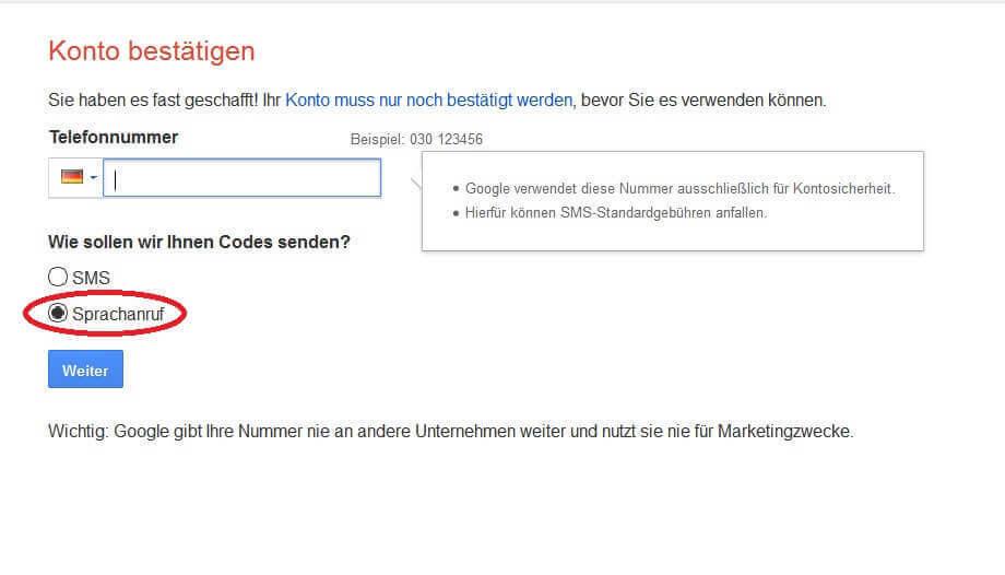 Google Kontobestätigung per Telefon