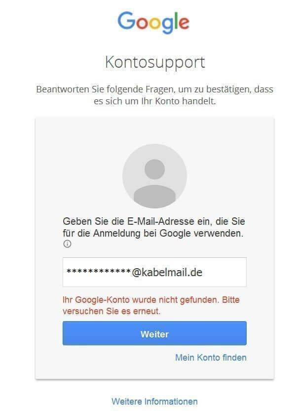 Google-Konto-Passwort-unbekannt
