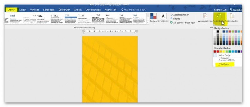 Background Color in Word Change