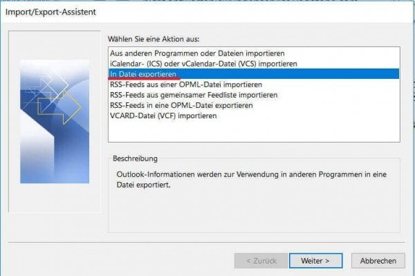Import Export Assistent in Outlook