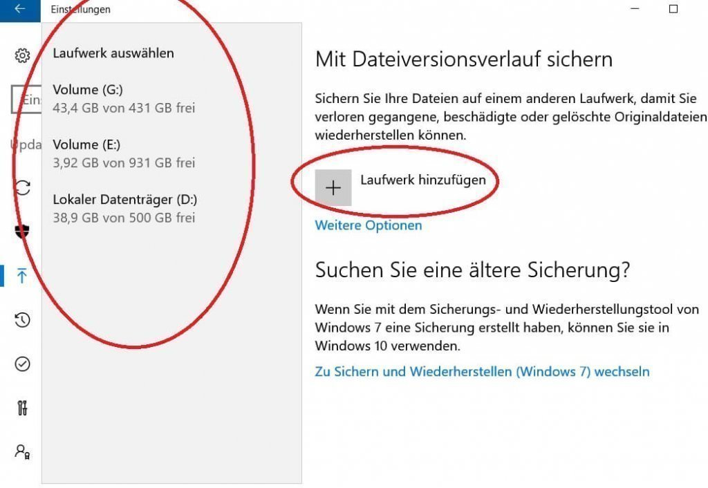 Windows 10 Laufwerkssicherung