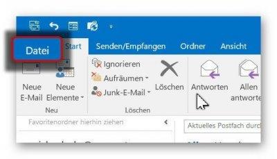 Outlook Optionen aufrufen