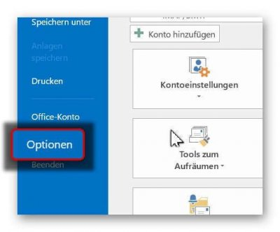 Outlook Optionsmenü