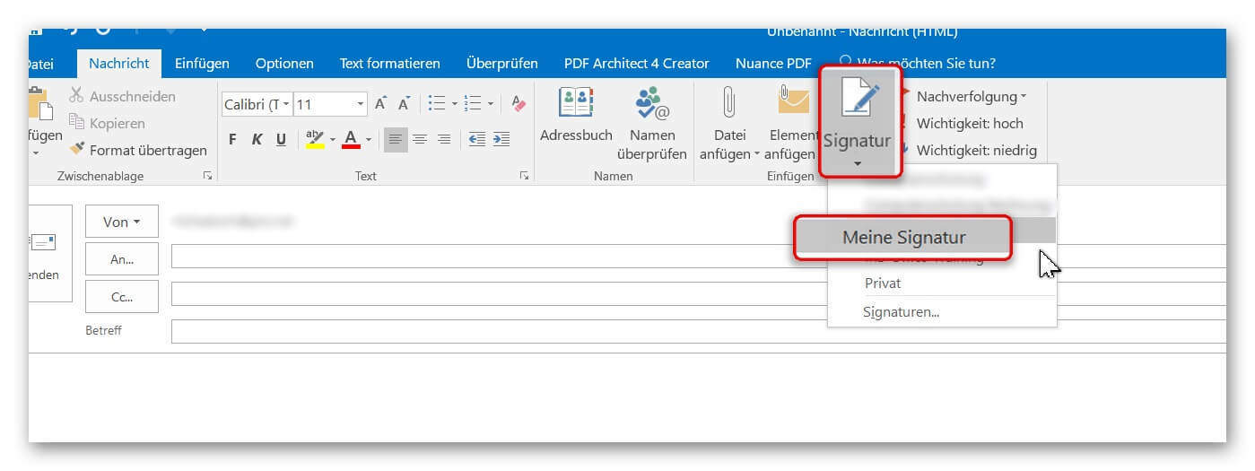 Outlook Signatur in E-Mail einfügen