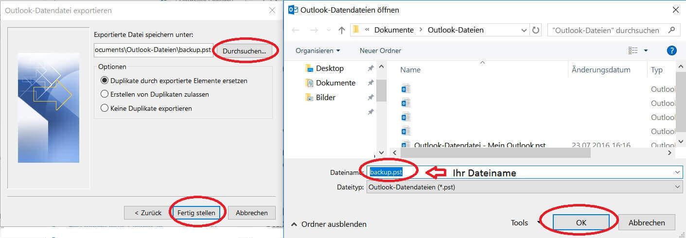 PST Datei in Outlook speichern