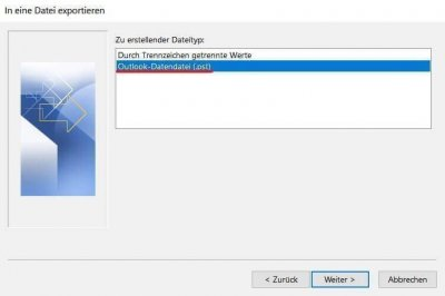 Find PST file in Outlook