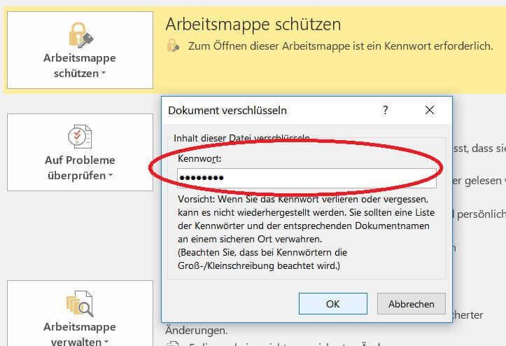 Passwort in Excel vergeben
