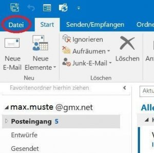 Select the File tab in Outlook