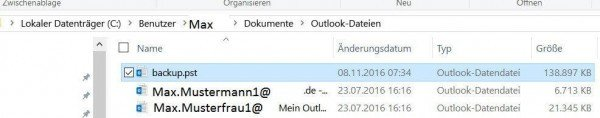 Speicherort für Dateisicherung in Outlook