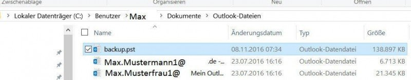 Location for file backup in Outlook