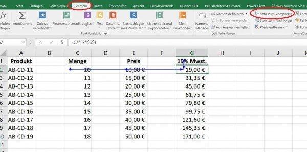 Spur zum Vorgänger in Excel
