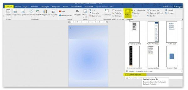 Create text boxes in Word
