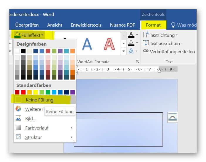 Textfelder in Word formatieren