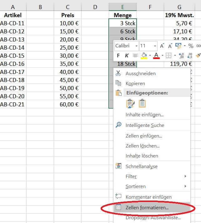 Zellen in Excel formatieren