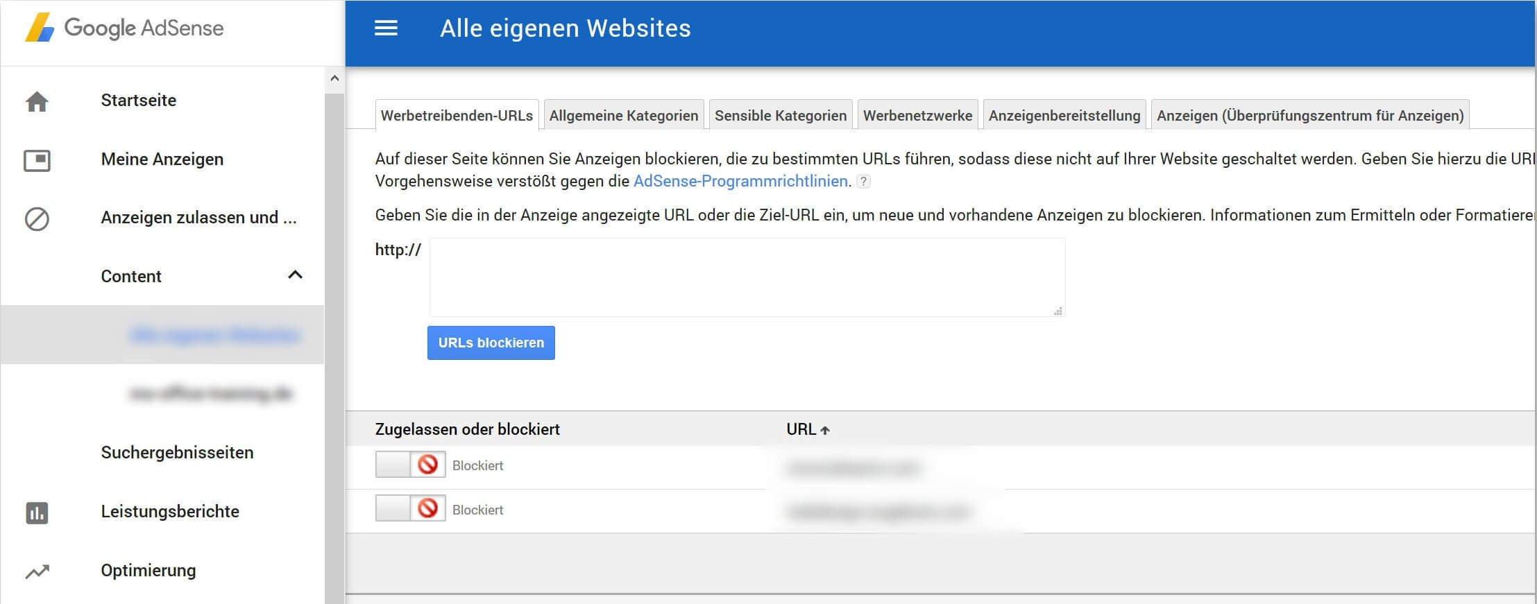 Werbetreibenden-URL sperren