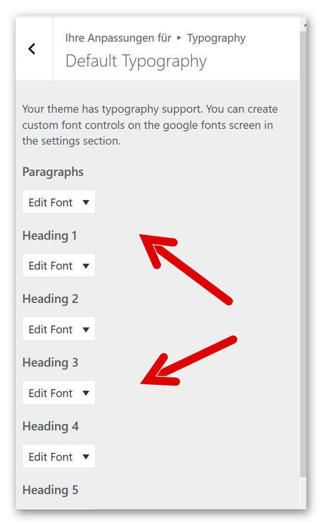 Easy Google Fonts Einstellungen