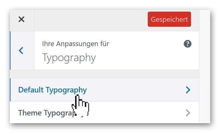 WP Default Typografie