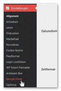 WP Einstellungen Easy Google Fonts