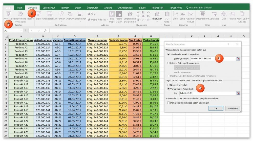 How to conveniently create a Pivot Table and a Pivot Chart in Excel